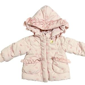 Juicy Couture Pink Ruffle Crown Puffer Coat